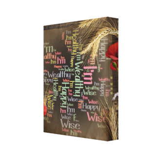 Happy, healthy, wealthy & wise on canvas