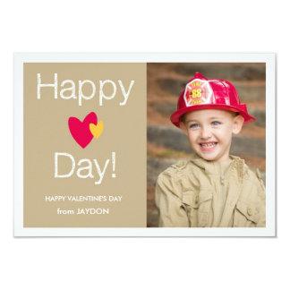 "Happy Heart Day Valentine Photo Card 3.5"" X 5"" Invitation Card"
