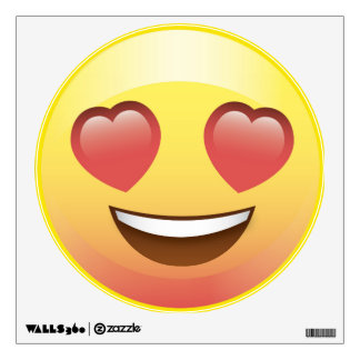 Happy Heart Eyes Emoji Smiley Face Wall Decal