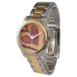 Happy Hearts Colorful Art Custom Watch Design