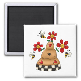 Happy Hearts N Flowers Bee Hive Magnet