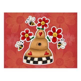 Happy Hearts N Flowers Bee Hive Postcard