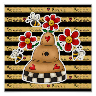 Happy Hearts N Flowers Bee Hive Poster
