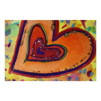 Happy Hearts Painting Art Poster Print