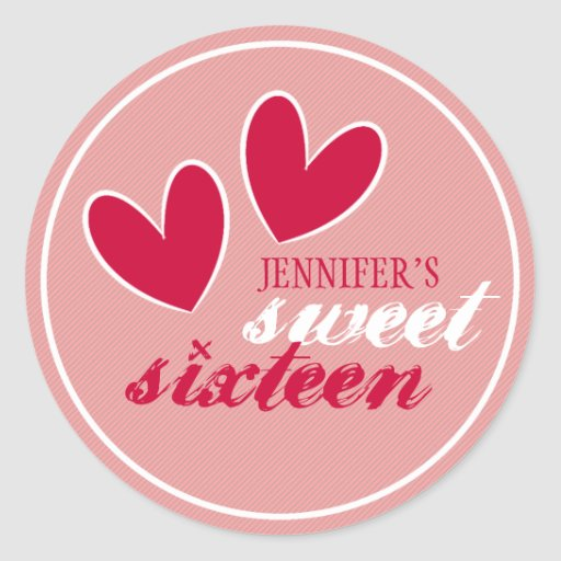 Happy Hearts Sweet Sixteen Sticker