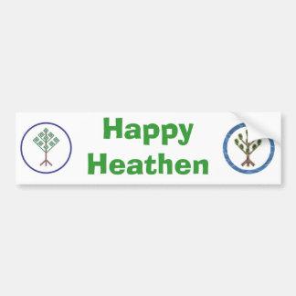 Happy Heathen Bumper Sticker - with Heathenry logo