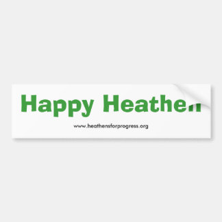 Happy Heathen Bumper Sticker - with web address