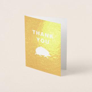 Happy Hedgehog Golden Thank You Notes Foil Card