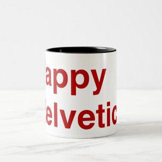 Happy Helvetica Two-Tone Coffee Mug
