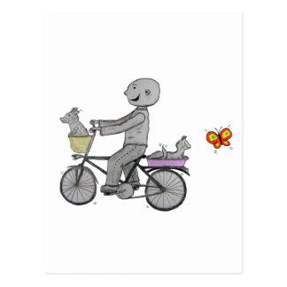 Happy Herbert Riding his bike Postcard