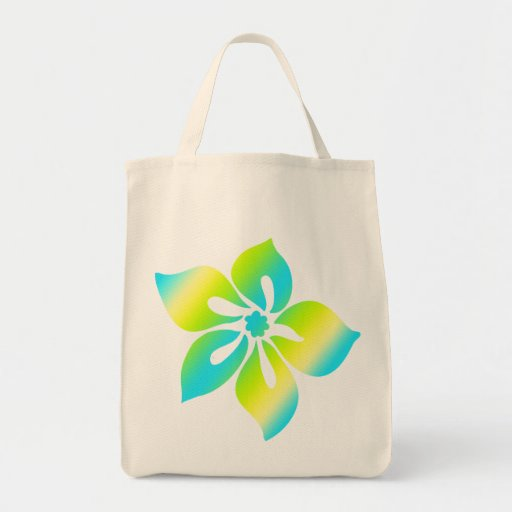 Happy Hibiscus Grocery Tote Bags