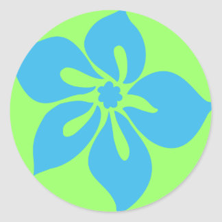 """""""Happy Hibiscus"""" Sticker in Lime/Turq"""