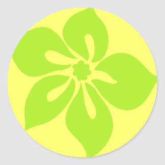 """""""Happy Hibiscus"""" Sticker in Yellow/Lime"""