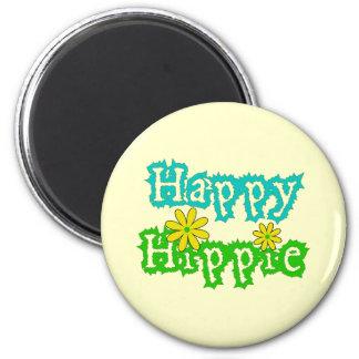 Happy Hippie 2 Inch Round Magnet