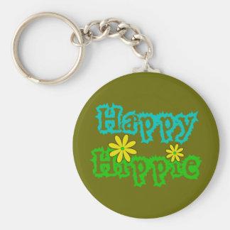 Happy Hippie Basic Round Button Keychain