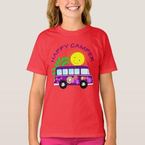 Happy Hippie Camper Van Fun Colorful Graphic T_Shirt