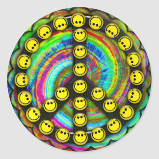 Happy Hippie Smiley Peace Classic Round Sticker