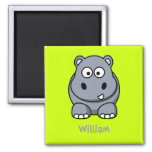 Happy hippo 2 inch square magnet
