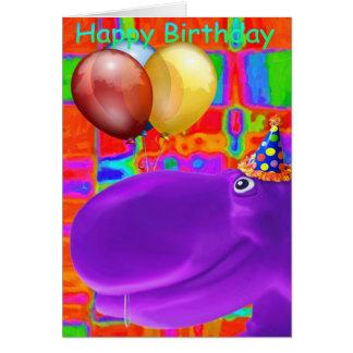 Happy Hippo Artsy Purple Card