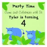 Happy Hippo Birthday Party Invitation
