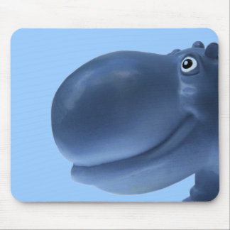 Happy Hippo Blue Mouse Pad