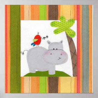 Happy Hippo Children's Wall Art