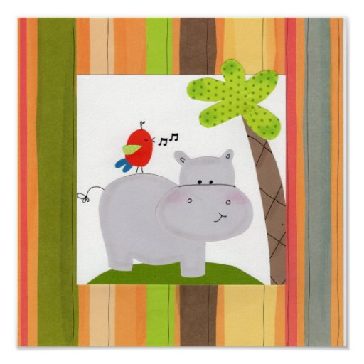 Happy Hippo Children's Wall Art Posters