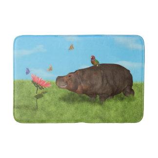 Happy Hippo, Flower, Butterflies Bath Mat