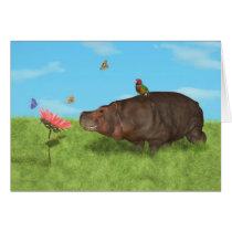 Happy Hippo, Flower, Butterflies Card