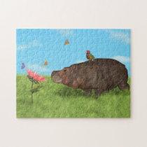 Happy Hippo, Flower, Butterflies Jigsaw Puzzle