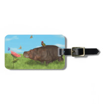 Happy Hippo, Flower, Butterflies Luggage Tag