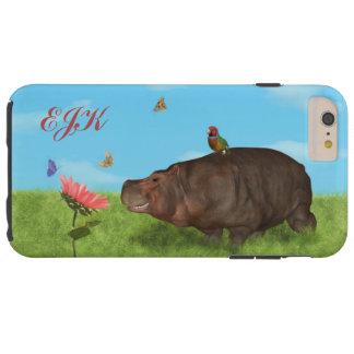 Happy Hippo, Flower, Butterflies, Monogram Tough iPhone 6 Plus Case
