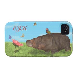 Happy Hippo, Flower, Butterflies, Monogram Vibe iPhone 4 Cases