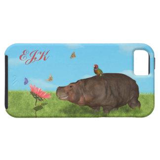 Happy Hippo, Flower, Butterflies, Monogram iPhone 5 Case