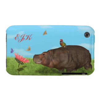 Happy Hippo, Flower, Butterflies, Monogram iPhone 3 Cases