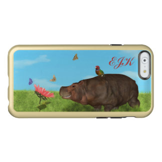 Happy Hippo, Flower, Butterflies, Monogram Incipio Feather® Shine iPhone 6 Case