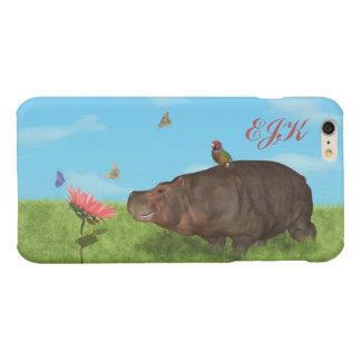 Happy Hippo, Flower, Butterflies, Monogram Glossy iPhone 6 Plus Case