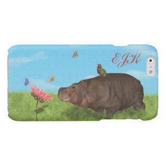 Happy Hippo, Flower, Butterflies, Monogram Glossy iPhone 6 Case