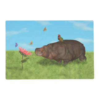 Happy Hippo, Flower, Butterflies Placemat