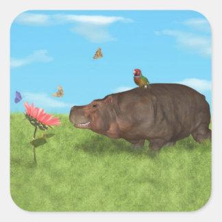 Happy Hippo, Flower, Butterflies Square Sticker