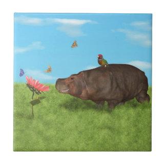 Happy Hippo, Flower, Butterflies Tile