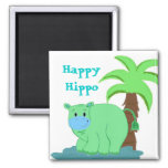 Happy Hippo in the Water 2 Inch Square Magnet