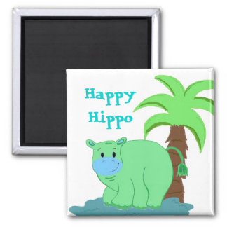 Happy Hippo in the Water Fridge Magnets