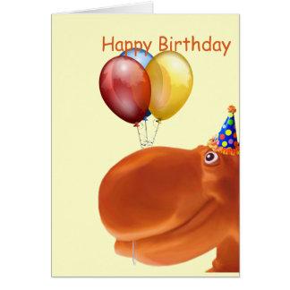 Happy Hippo Orange Birthday Card