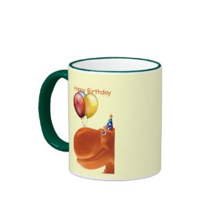 Happy Hippo Orange Birthday Mug
