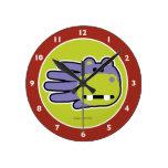 Hand shaped Happy Hippo Round Clock