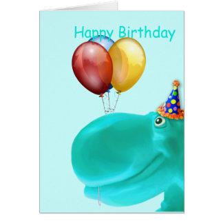 Happy Hippo Teal Birthday Greeting Card