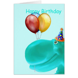 Happy Hippo Teal Birthday Greeting Cards