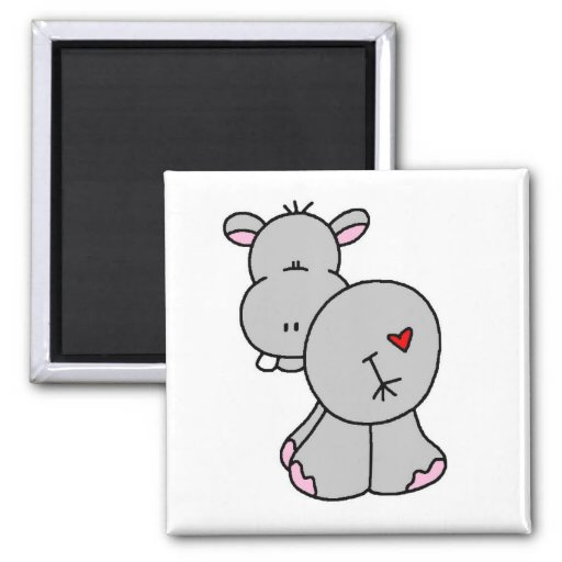 Happy Hippo Tshirts and Gifts 2 Inch Square Magnet