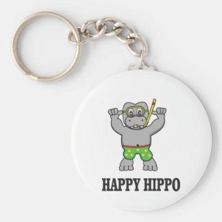 happy hippo water keychain